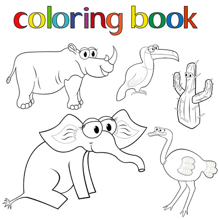prickly: Set of animals for coloring book with rhino, toucan, elephant and ostrich, and prickly cactus, cartoon vector illustration