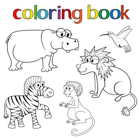Kit de animales para colorear el libro con el hipop�tamo, el le�n, la cebra, el colibr� y el mono, ilustraci�n vectorial de dibujos animados