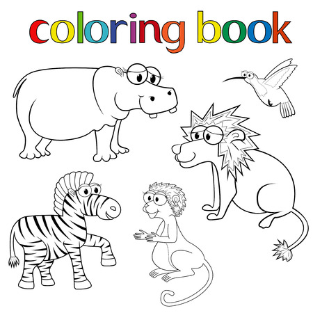 Kit of animals for coloring book with hippo, lion, zebra, hummingbird and monkey, cartoon vector illustration Vector