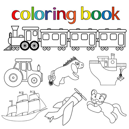 Set of different toys for coloring book with train with wagons, tractor, donkey, boat, sailboat, airplane and cat, cartoon vector illustration