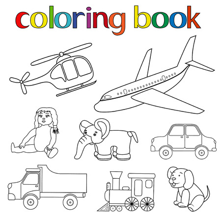 puppy cartoon: Set of various toys for coloring book with helicopter, airplane, doll, elephant, car, lorry, locomotive and puppy, cartoon vector illustration
