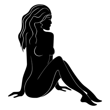Black silhouette of sitting beautiful woman with flowing hair, hand drawing vector illustration Vector
