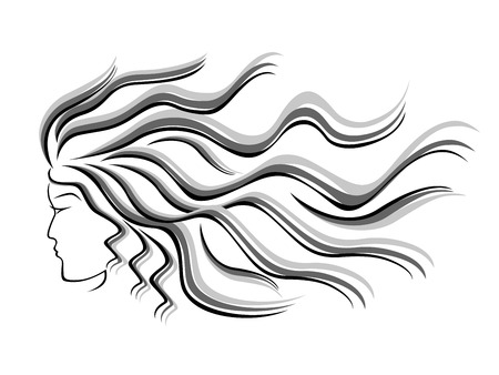periwig: Black and grey silhouette of female head with flowing hair, hand drawing vector illustration Illustration