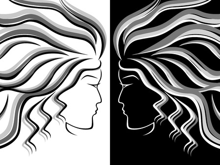 periwig: Black, white and grey silhouettes of female heads on white and black background, hand drawing vector illustration