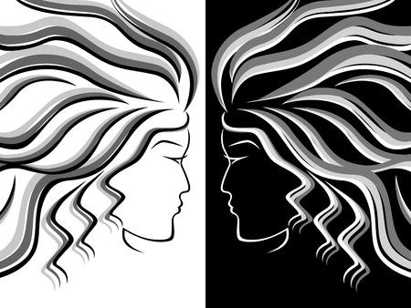 dualism: Siluetas negras, blancas y grises de las mujeres cabeza sobre fondo blanco y negro, dibujo a mano ilustraci�n vectorial