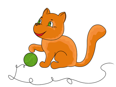 Little funny cat plays with a ball of yarn, cartoon vector illustration Vector