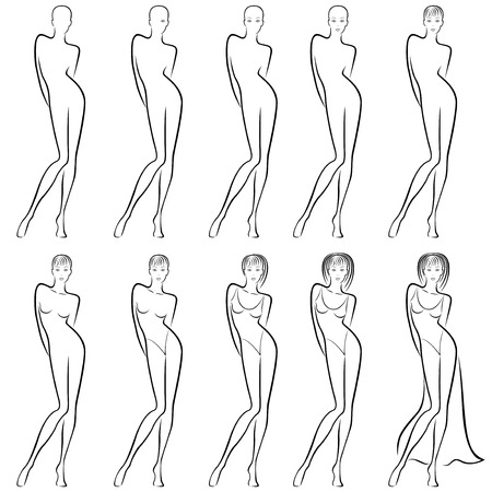 Sequence of hand drawing creation a beautiful female contour with ten steps.
