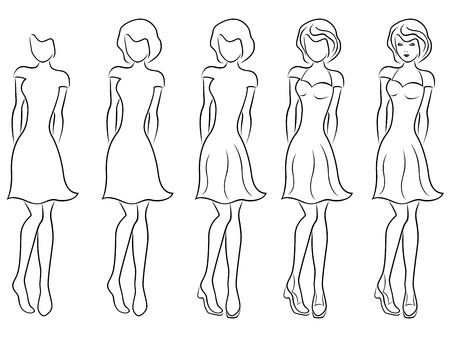frock: Sequence of hand drawing creation a beautiful women vector contour with five steps. Model of each stage can be used as a self-contained image Illustration