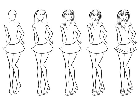 self contained: Attractive young women vector contour in hand drawing sequence with five steps. Model of each stage can be used as a self-contained image