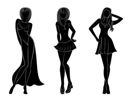 frock: Three slim attractive women black silhouettes with white contours, hand drawing vector artwork