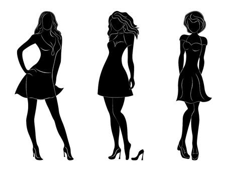 slim women: Tres hermosas mujeres delgadas siluetas negras con contornos blancos, dibujo a mano ilustraciones vectoriales