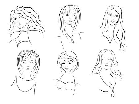 Six beautiful young women contour portraits, hand drawing vector artwork Illustration