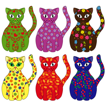 Set of six stylized cats painted by various floral and geometric ornaments Vector