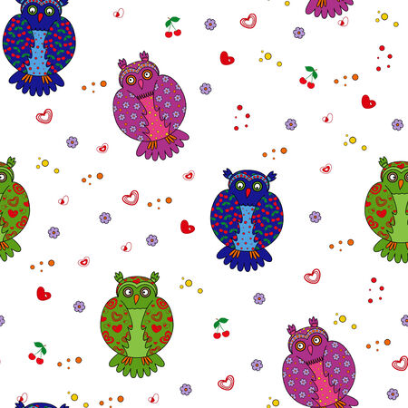 Seamless vector illustration with different multicolor stylized owls Vector