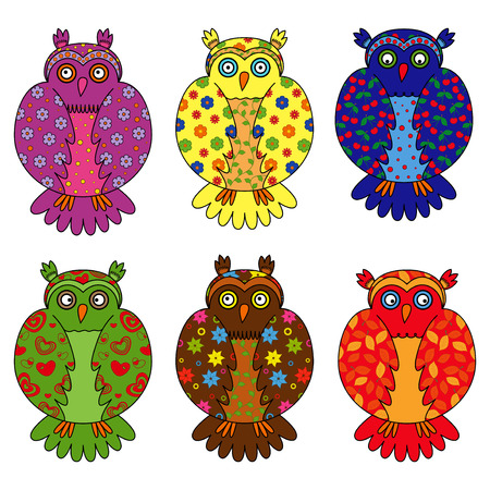Set of six stylized owls painted by various floral and geometric ornaments, hand drawing cartoon vector illustration Vector