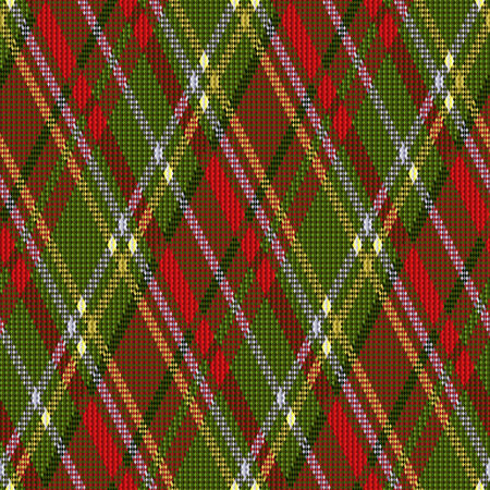 rhombic: Rhombic seamless vector pattern as a tartan plaid in red and green colors