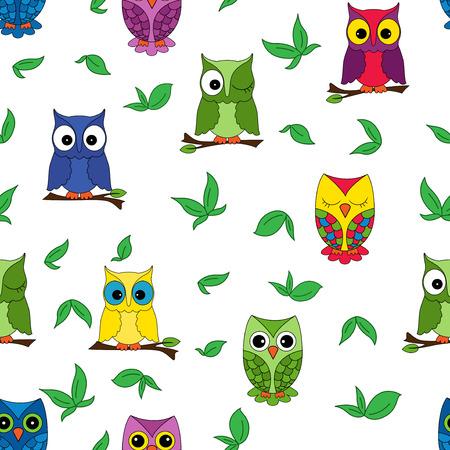 gaudy: Owl seamless pattern, hand drawing cartoon vector illustration Illustration