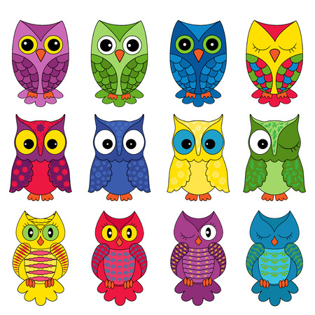 Set of twelve colourful vector owls isolated on white background Illustration