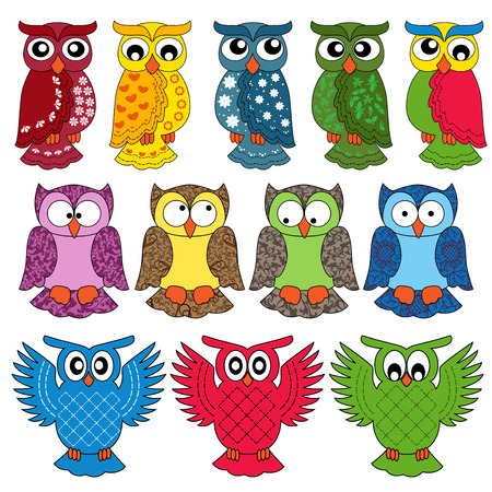 Set of eleven colourful vector owls isolated on white background Vector