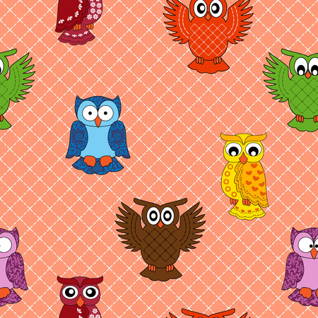 nightly: Colourful owl seamless pattern over seamless background, hand drawing cartoon vector illustration Illustration
