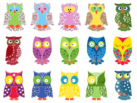 nightly: Set of fifteen colourful vector owls with lace ornamental bodies and without contour lines, isolated on white background