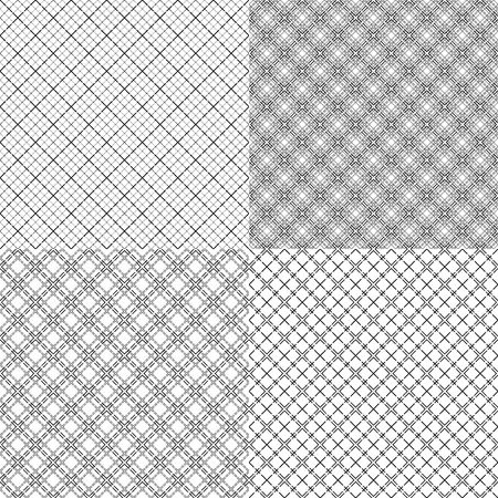 Four mesh seamless patterns in one file collected with various combinations of single and double dashed lines. Black and white vector illustration