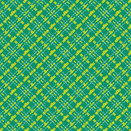 intermittent: Mesh diagonal seamless vector pattern with single and double dashed lines. Repeat background with yellow geometrical array over green background