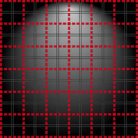 alight: Red grid of double dashed lines on abstract lighting background, vector illustration