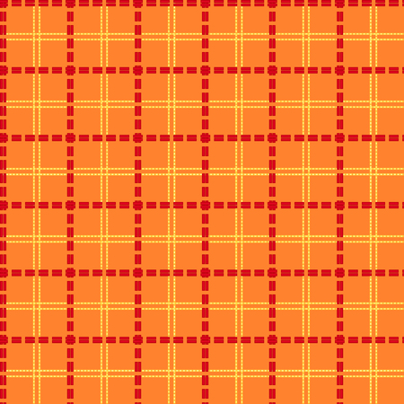 array: Bright orange seamless mesh vector pattern with single and double dashed lines. Repeat background with geometrical array in orange and red