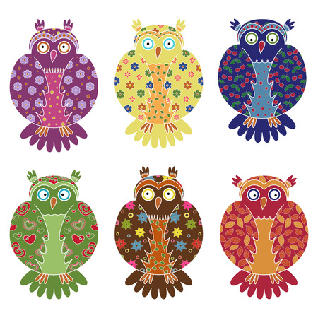 gaudy: Set of six colourful vector owls with lace ornamental bodies and without contour lines, isolated on white background
