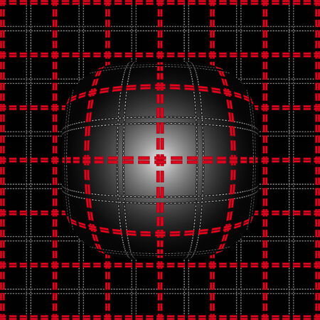 convex: Red grid of double dashed lines on abstract lighting convex background Illustration