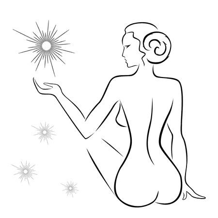mujer desnuda sentada: Esquema abstracto de una mujer sexy sentado atrás con estrellas, negro sobre blanco de dibujo a mano dibujando ilustraciones vectoriales