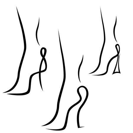 Three abstract samples of graceful female feet, black over white hand drawing sketching