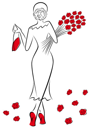 Graceful lady in a long dress with a bouquet of red roses goes away, hand drawing sketching