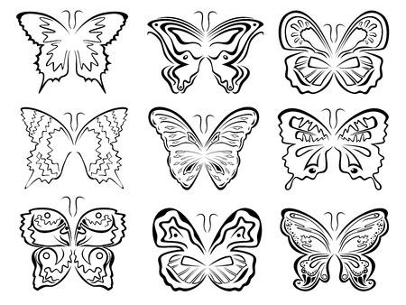 Set of six black butterflies contours over white, hand drawing vector artwork Vector