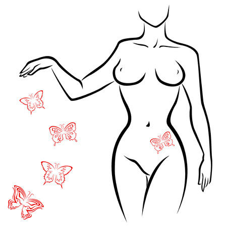 Abstract outline of a sexy woman body with red butterflies, hand drawing sketching vector artwork Stock Vector - 29688110