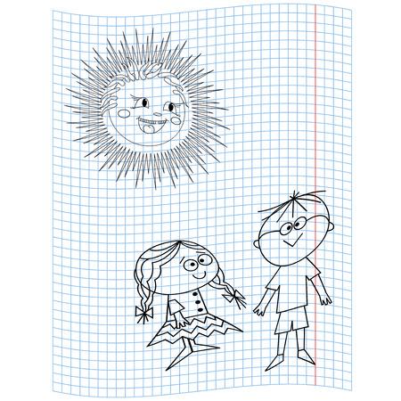 quadratic: Colegiala y colegial en una hoja de cuaderno, dibujo a mano ilustraci�n vectorial Vectores