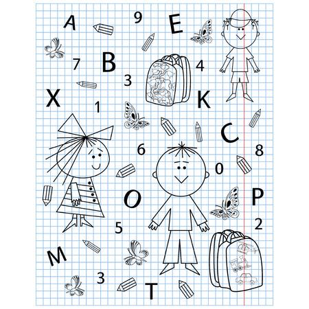 school kit: School kit hand drawing in notebook sheet, vector illustration