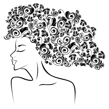 periwig: Abstract black female head contour with floral elements as a hair