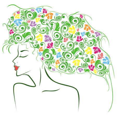 periwig: Abstract female head contour with colourful floral elements as a hair