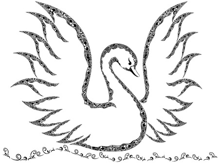 Ornamental swan with raised wings floating on the water, vector outline Vector
