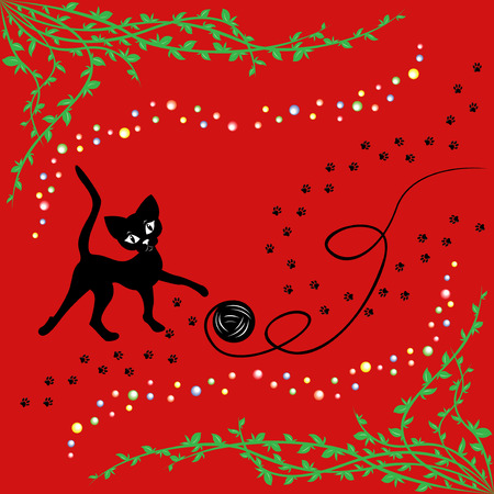 Black cat playing with ball of yarn over red, hand drawing vector illustration Vector