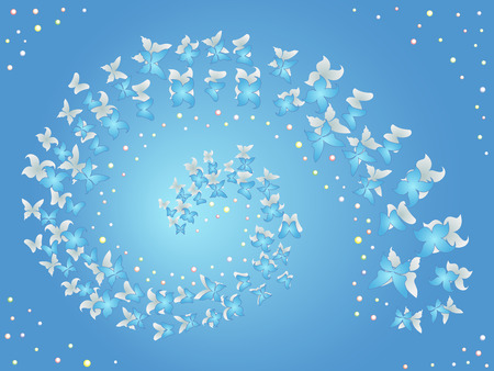 enchantment: Spiral of flying butterflies on a blue background, hand drawing vector work Illustration