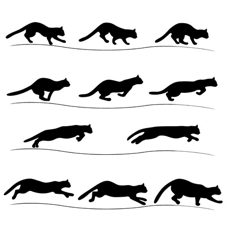Set of several running black cat positions, isolated vector silhouettes Stock Illustratie