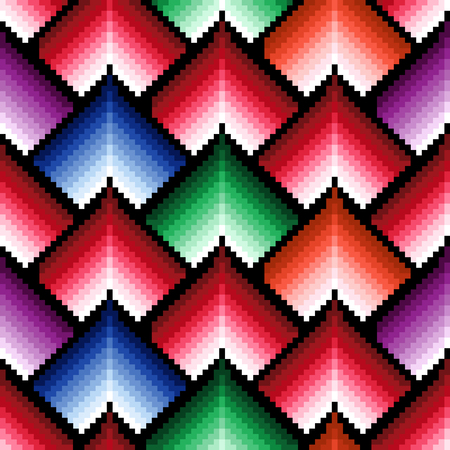 repetitive: Seamless pattern of repetitive elements with different brightness of red, blue, green and violet colors Illustration