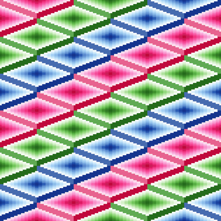 jointless: Seamless vector pattern of repetitive rhombic elements with blue, pink and green colors