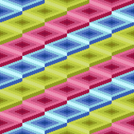 repetitive: Seamless vector pattern of repetitive rhombic elements with different colors