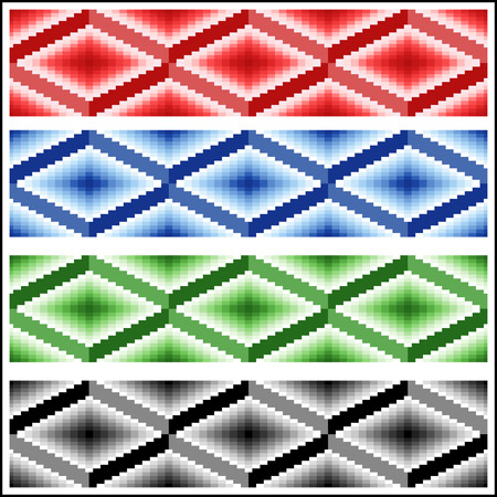 jointless: Set of four seamless simple vector patterns in the form of ornamental rhombic strips