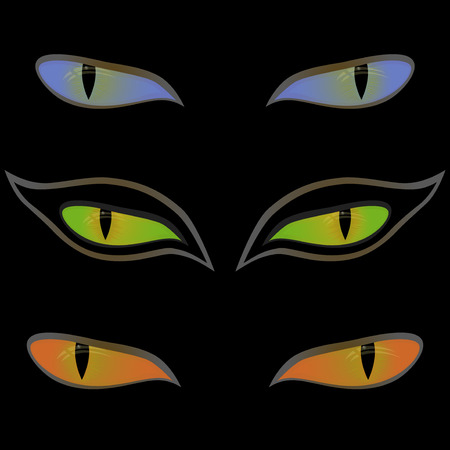 Three pairs of beautiful cat eyes on a black background, hand drawing vector illustration Vector