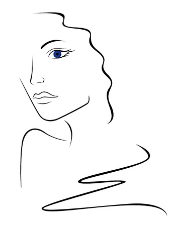 uncluttered: Sketch contour of woman head illustration